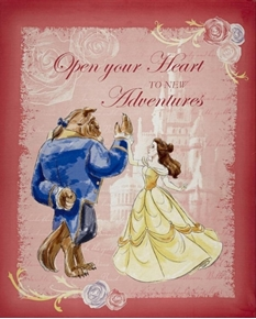 Disney Beauty and the Beast Waltz Pink Large Cotton Fabric Panel