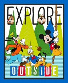 Disney Friends Explore Outside Large Cotton Fabric Panel