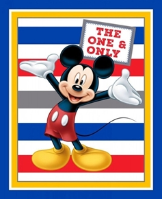 Disney Mickie The One And Only with Stripes Large Cotton Fabric Panel