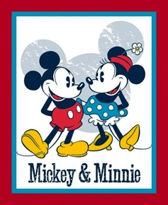 Picture of Disney Mickey and Minnie Red White and Blue Large Cotton Fabric Panel