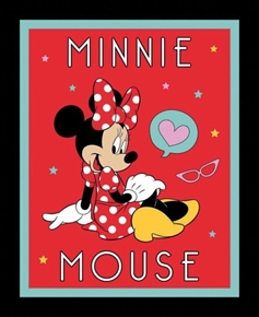 Disney Minnie Mouse Heart Love Red Large Cotton Fabric Panel