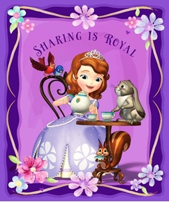 Disney Sofia The First Sharing Is Royal Large Cotton Fabric Panel