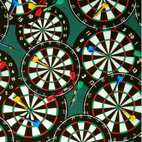 Picture of Games People Play Darts and Dart Boards on Green Cotton Fabric