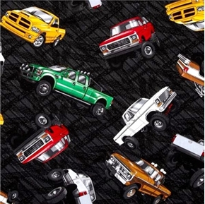 Extreme Sports II Pick-up Trucks on Black Cotton Fabric