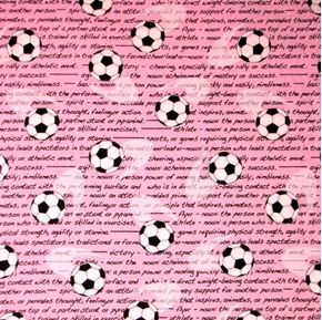 All Stars Soccer Balls and Inspirations on Pink Cotton Fabric