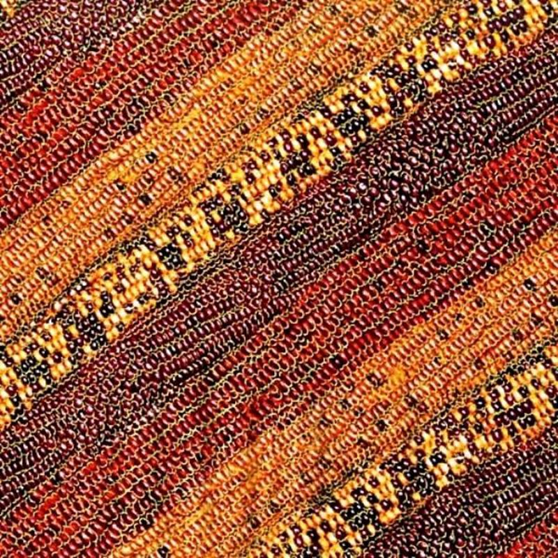 Picture of Autumn Fauna Indian Corn Rows Gold Metallic Cotton Fabric