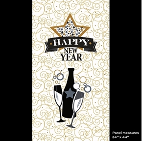 Happy New Year Celebrate Metallic Gold 24x44 Cotton Fabric Panel