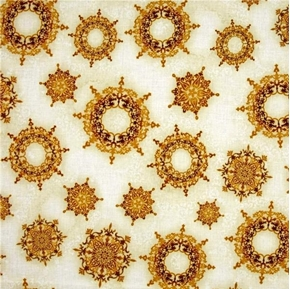 Winter's Grandeur 4 Gold Metallic Ornate Snowflakes Cotton Fabric