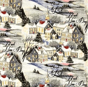 Wintervale Cherish Blessings Snowy Town Susan Winget Cotton Fabric