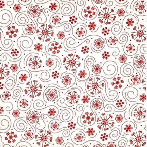 Holly Jollies Red Swirls and Snowflakes White Cotton Fabric