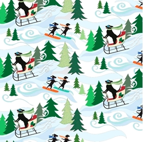 Picture of Hounds On Holiday Dogs Snowboarding Sledding in Park Cotton Fabric