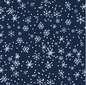 Picture of Hounds On Holiday Silver Snowflakes on Navy Blue Cotton Fabric