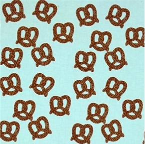 Pretzels with Salt Brown Soft Pretzel on Aqua Cotton Fabric