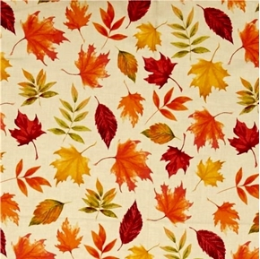 Picture of Autumn Hues Fall Leaves on Cream Cotton Fabric