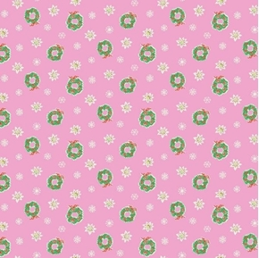 Little Joys Christmas Wreathes Flowers Snowflakes Pink Cotton Fabric