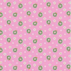 Little Joys Christmas Wreathes Flowers Snowflakes Pink Cotton Fabric