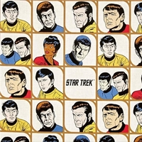 Picture of Star Trek Galaxy Pop Character Blocks Kirk Solo Bones Cotton Fabric