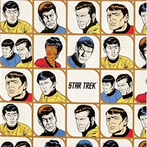 Star Trek Galaxy Pop Character Blocks Kirk Solo Bones Cotton Fabric