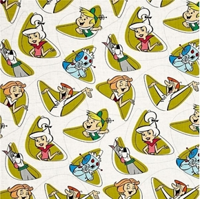 Jetsons Characters in Shapes Retro TV Cotton Fabric