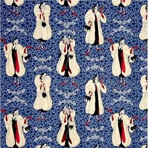 Disney Villains Cruella De Vil Portraits on Blue Cotton Fabric
