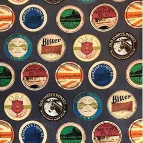 Picture of Man Cave Beer Labels Coasters on Grey Cotton Fabric