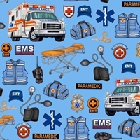 Picture of What The Doctor Ordered EMS EMT Paramedic Ambulance Blue Cotton Fabric
