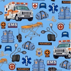 What The Doctor Ordered EMS EMT Paramedic Ambulance Blue Cotton Fabric
