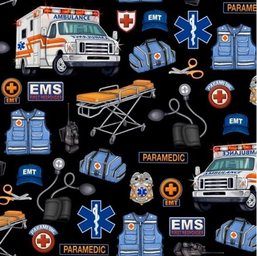 What The Doctor Ordered EMT Paramedic Ambulance Black Cotton Fabric