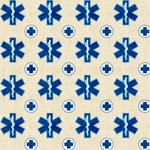 What The Doctor Ordered Medical Emergency Symbol Ecru Cotton Fabric