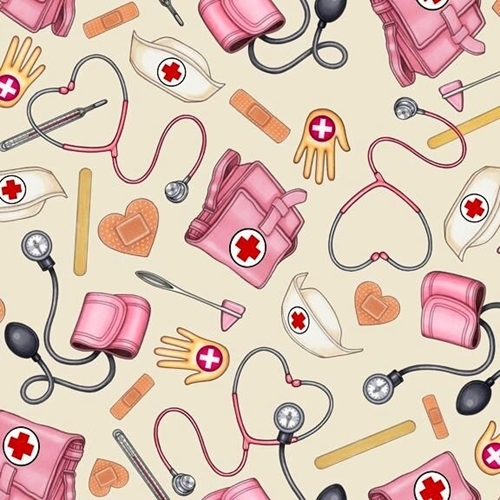 What The Doctor Ordered Nurse Supplies Nursing Ecru Cotton Fabric