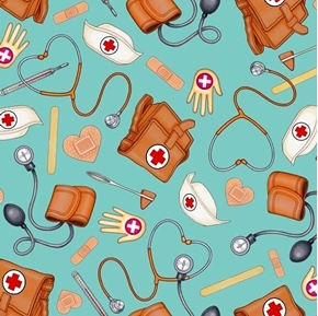 What The Doctor Ordered Nurse Supplies Nursing Teal Cotton Fabric