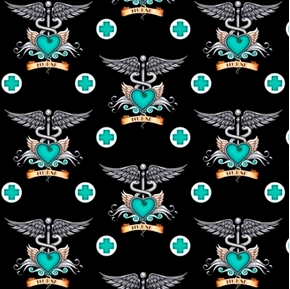 What The Doctor Ordered Medical Nurse Nursing Teal Black Cotton Fabric