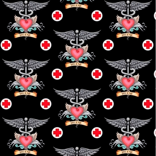 What The Doctor Ordered Medical Nurse Nursing Pink Black Cotton Fabric
