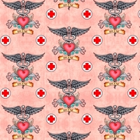 Picture of What The Doctor Ordered Medical Nurse Heart Wings Pink Cotton Fabric