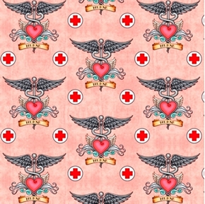 What The Doctor Ordered Medical Nurse Heart Wings Pink Cotton Fabric
