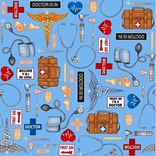 What The Doctor Ordered Medical First Aid Supplies Blue Cotton Fabric