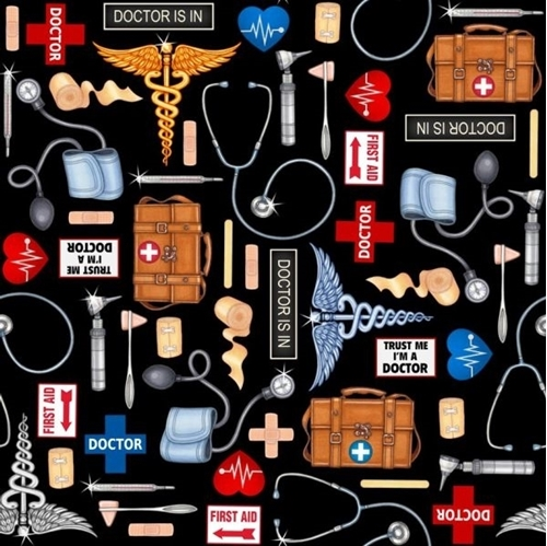 What The Doctor Ordered Medical First Aid Supplies Black Cotton Fabric