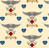 Picture of What The Doctor Ordered Medical Doctor Symbol Ecru Cotton Fabric