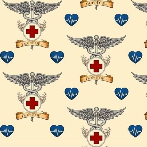 What The Doctor Ordered Medical Doctor Symbol Ecru Cotton Fabric