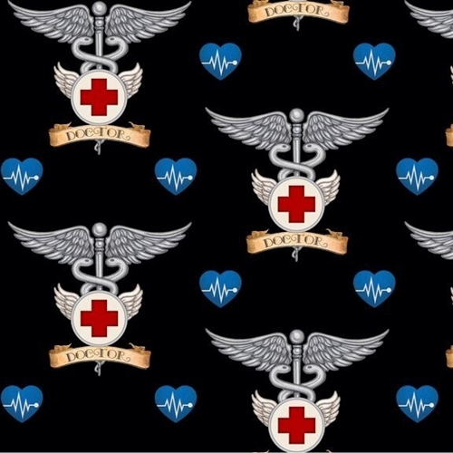 What The Doctor Ordered Medical Doctor Symbol Black Cotton Fabric