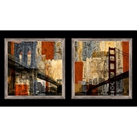 Picture of Artworks San Francisco Bay and Brooklyn Bridge 24x44 Fabric Panel