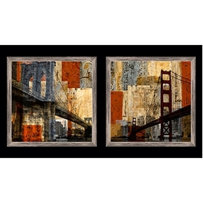 Artworks San Francisco Bay and Brooklyn Bridge 24x44 Fabric Panel