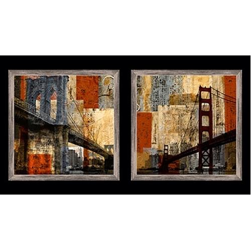 Artworks San Francisco Bay and Brooklyn Bridge 24x44 Fabric Panel