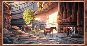 Sundance Wild Horses in the Canyon 24x44 Cotton Fabric Panel