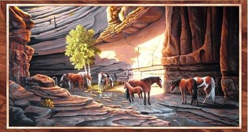 Sundance Wild Horses in the Canyon 24x44 Cotton Fabric Panel