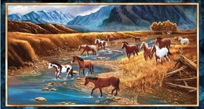 Sundance Wild Horses Galloping in Mountain Stream 24x44 Fabric Panel
