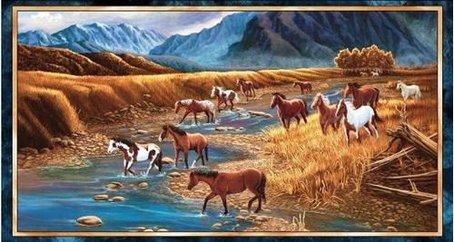 Sundance Wild Horses Galloping in Mountain Stream 24x44 Fabric Panel