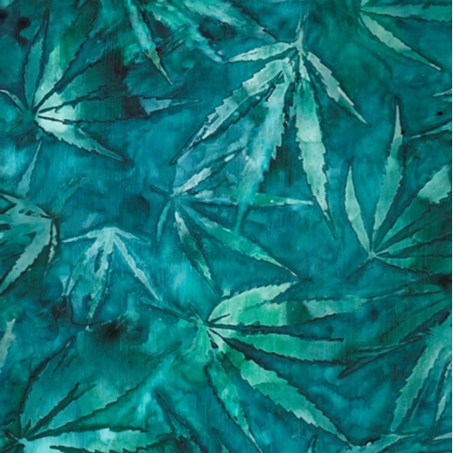 Cannabis Leaves Watercolor Style Batik-look Teal Cotton Fabric
