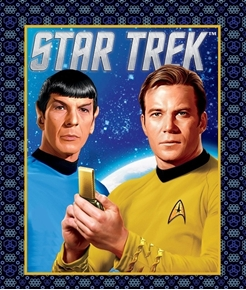 Star Trek Galaxy Pop Spock and Kirk Large Cotton Fabric Panel
