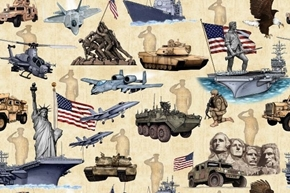Home of the Brave Military Tanks Jets Iwo Jima Beige Cotton Fabric